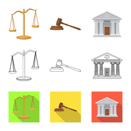Vector illustration of law and lawyer sign. Set of law and justice stock symbol for web.