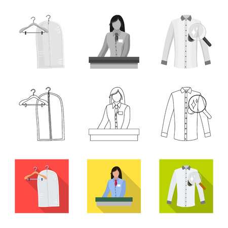 Vector illustration of laundry and clean sign. Collection of laundry and clothes stock vector illustration.