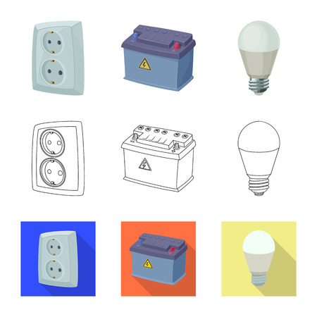 Vector illustration of electricity and electric icon. Collection of electricity and energy vector icon for stock.