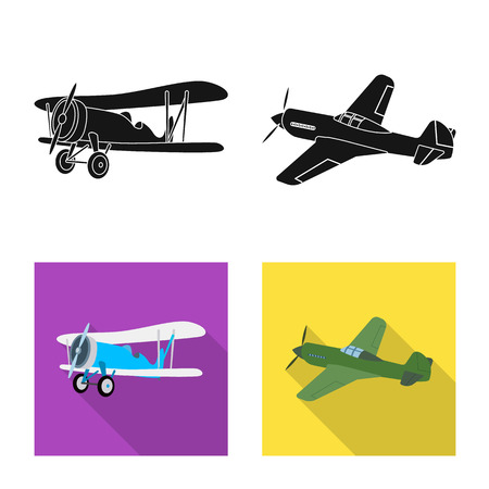 Vector design of plane and transport symbol. Set of plane and sky stock vector illustration.