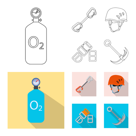 Vector design of mountaineering and peak logo. Collection of mountaineering and camp vector icon for stock. Illustration