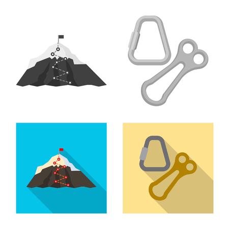 Vector design of mountaineering and peak symbol. Set of mountaineering and camp stock vector illustration. Illustration