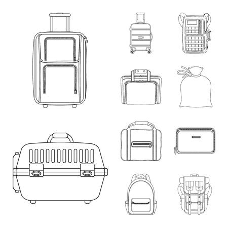 Disegno vettoriale del logo valigia e bagaglio. Raccolta di valigia e viaggio stock illustrazione vettoriale.