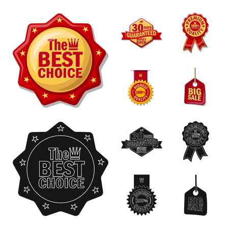 Vector design of emblem and badge icon. Set of emblem and sticker vector icon for stock. Çizim