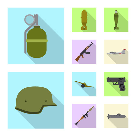 Isolated object of weapon and gun icon. Collection of weapon and army stock vector illustration.