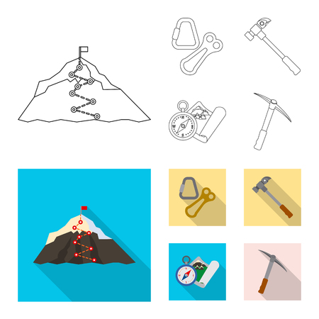 Isolated object of mountaineering and peak logo. Set of mountaineering and camp stock symbol for web.