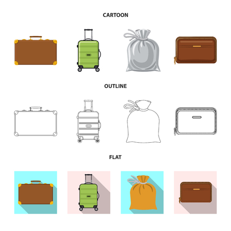 Vector illustration of suitcase and baggage sign. Collection of suitcase and journey stock vector illustration.