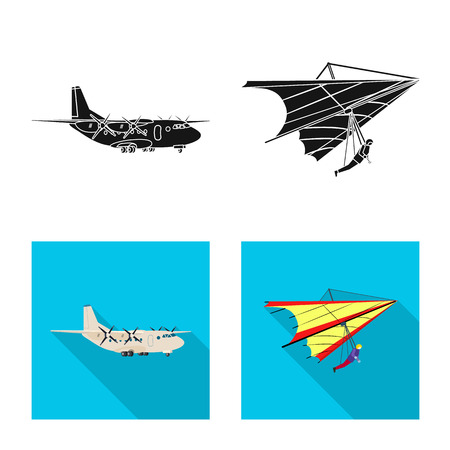 Vector design of plane and transport symbol. Set of plane and sky stock symbol for web. Çizim