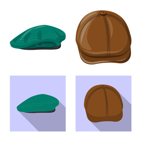 Isolated object of headgear and cap symbol. Collection of headgear and accessory vector icon for stock.