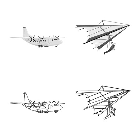 Vector design of plane and transport sign. Collection of plane and sky stock symbol for web.
