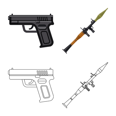 Vector design of weapon and gun symbol. Collection of weapon and army stock vector illustration. Illustration