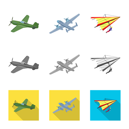 Vector illustration of plane and transport logo. Set of plane and sky stock vector illustration. Çizim