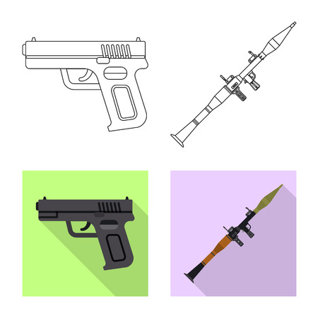 Vector design of weapon and gun icon. Set of weapon and army vector icon for stock.