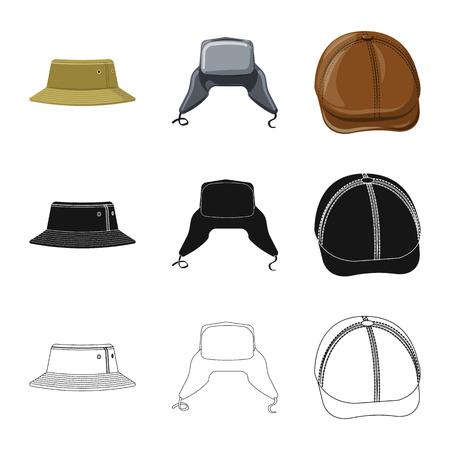 Vector illustration of headgear and cap symbol. Set of headgear and accessory stock vector illustration. Stock Illustratie