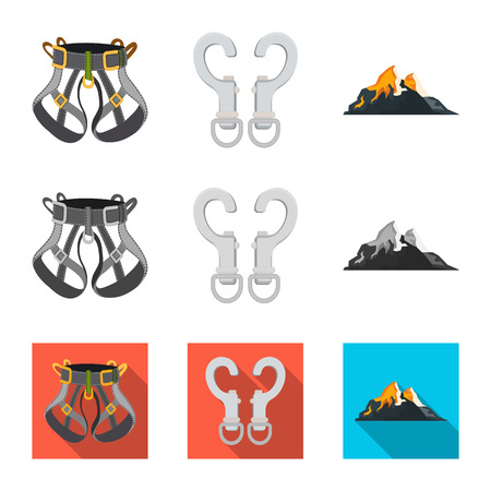 Isolated object of mountaineering and peak sign. Set of mountaineering and camp stock vector illustration.