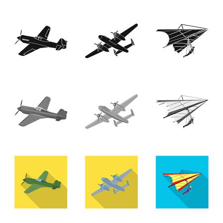 Vector illustration of plane and transport symbol. Set of plane and sky stock symbol for web. Çizim