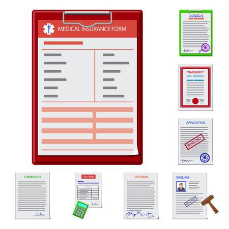 Diseño vectorial de formulario y símbolo de documento. Colección de icono de vector de forma y marca para stock.