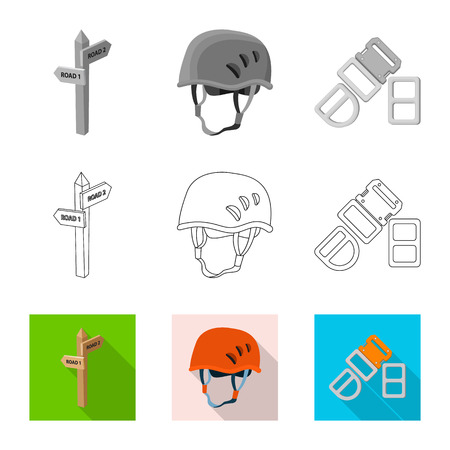 Vector illustration of mountaineering and peak symbol. Set of mountaineering and camp vector icon for stock.