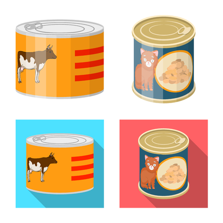 Vector design of can and food logo. Collection of can and package vector icon for stock. Illustration