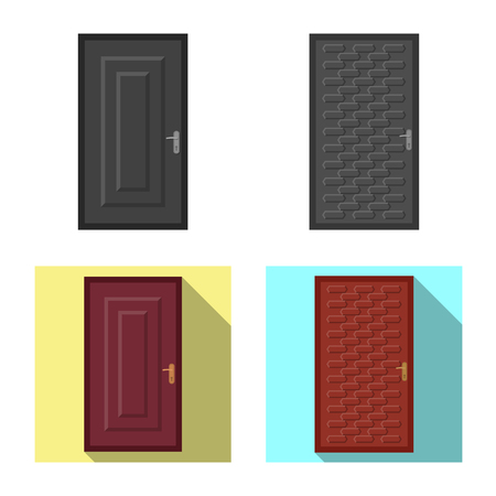 Isolated object of door and front logo. Collection of door and wooden stock symbol for web.