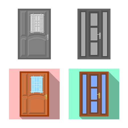 Vector design of door and front logo. Collection of door and wooden vector icon for stock. 向量圖像