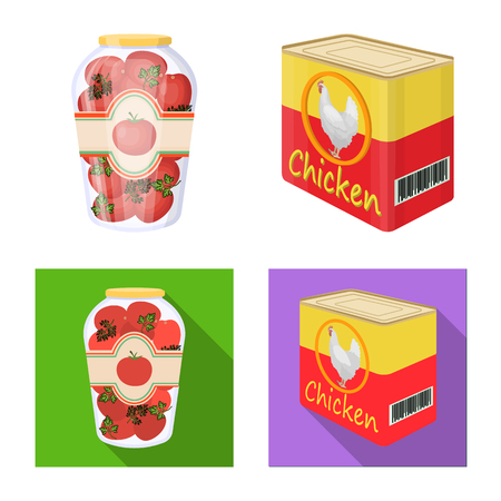 Vector design of can and food icon. Collection of can and package vector icon for stock. Illustration