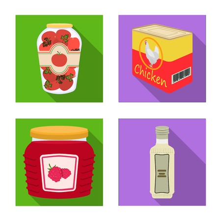 Vector illustration of can and food logo. Set of can and package vector icon for stock. Illustration