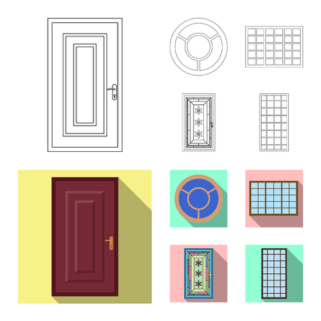 Isolated object of door and front sign. Collection of door and wooden stock vector illustration.