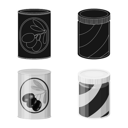 Vector illustration of can and food symbol. Collection of can and package stock symbol for web.