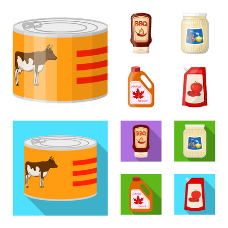 Vector design of can and food icon. Collection of can and package vector icon for stock. Ilustrace