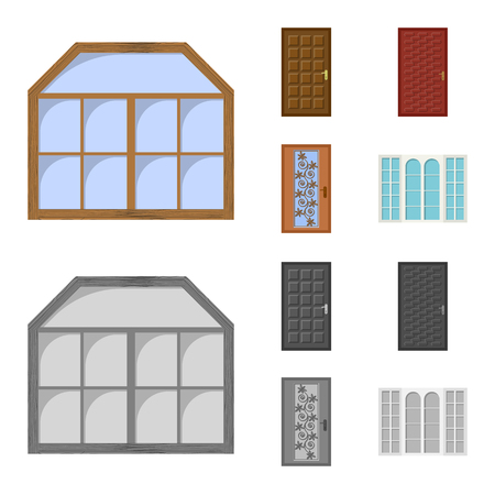 Vector design of door and front sign. Collection of door and wooden stock symbol for web.