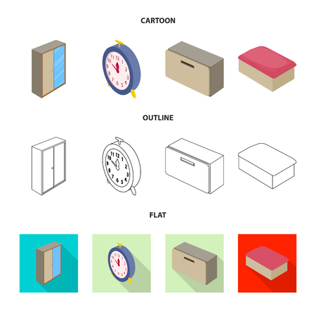 Vector illustration of bedroom and room icon. Set of bedroom and furniture vector icon for stock.