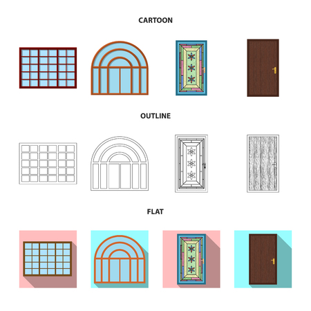 Isolated object of door and front icon. Collection of door and wooden vector icon for stock. Stockfoto
