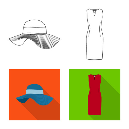 Vector design of woman and clothing sign. Collection of woman and wear stock symbol for web.