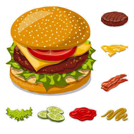 Vector design of burger and sandwich logo. Set of burger and slice vector icon for stock.
