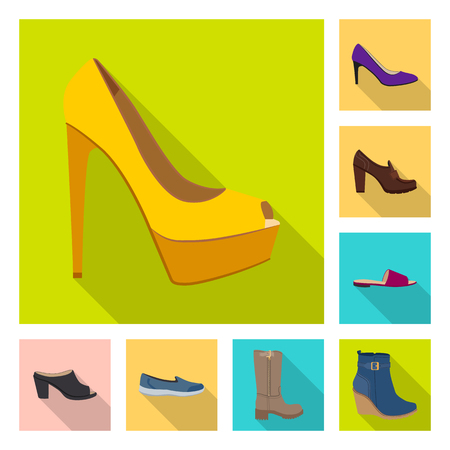 Vector illustration of footwear and woman sign. Collection of footwear and foot vector icon for stock.