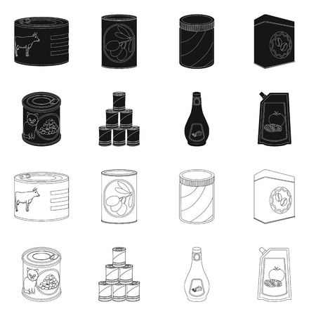 Vector illustration of can and food logo. Set of can and package stock vector illustration.