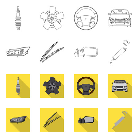 Isolated object of auto and part logo. Collection of auto and car stock vector illustration. Illustration