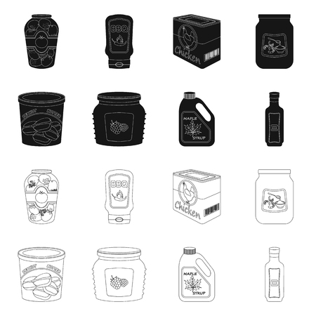 Vector design of can and food icon. Set of can and package stock vector illustration. Ilustrace
