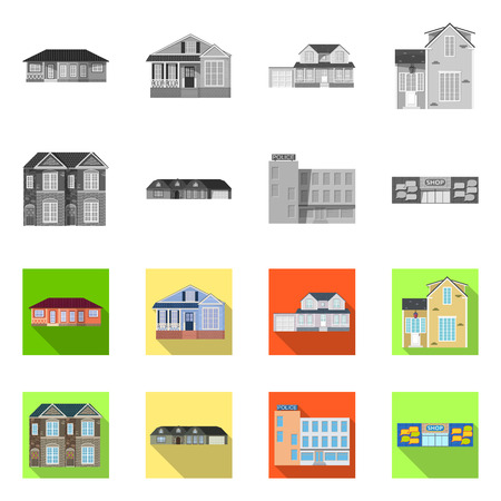 Vector design of building and front symbol. Collection of building and roof stock symbol for web. Illustration