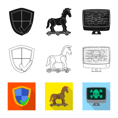 Vector design of virus and secure icon. Set of virus and cyber stock symbol for web. 矢量图像
