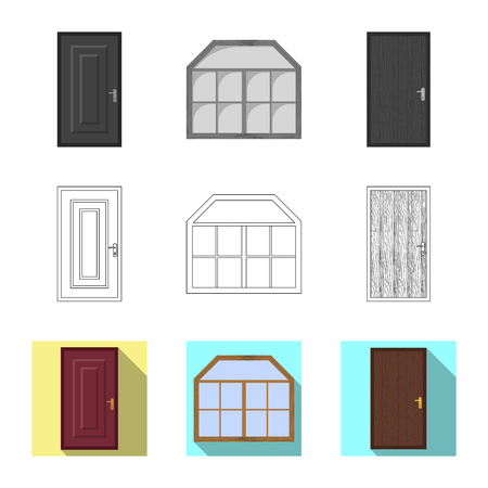 Isolated object of door and front symbol. Collection of door and wooden stock vector illustration.