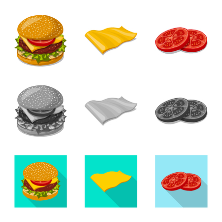 Isolated object of burger and sandwich icon. Set of burger and slice stock vector illustration. Illustration