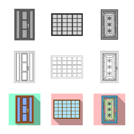 Isolated object of door and front symbol. Collection of door and wooden vector icon for stock.