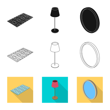 Isolated object of bedroom and room icon. Collection of bedroom and furniture vector icon for stock. Vectores
