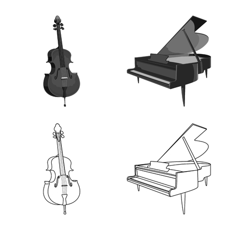 Isolated object of music and tune symbol. Set of music and tool stock symbol for web.