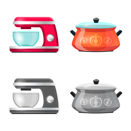 Vector illustration of kitchen and cook icon. Collection of kitchen and appliance stock vector illustration.