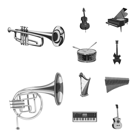 Vector illustration of music and tune sign. Collection of music and tool stock symbol for web.