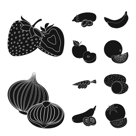 Isolated object of vegetable and fruit symbol. Set of vegetable and vegetarian vector icon for stock. Ilustracja