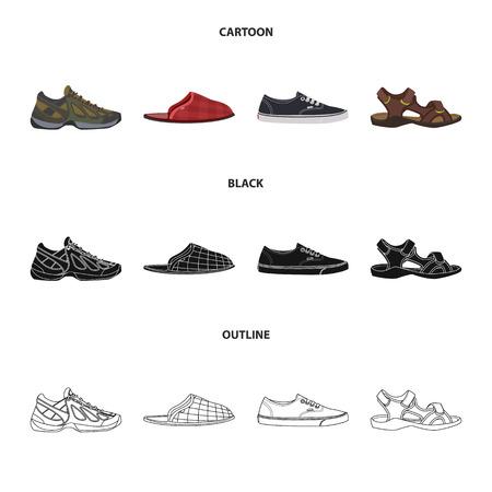 Isoliertes Objekt der Schuh- und Schuhikone. Sammlung von Schuh- und Fußbestandssymbolen für das Web.